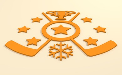 Ice hockey relative background. Hockey competition abstract emblem