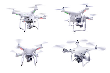 Set of images white little drone isolated over white background Wall mural