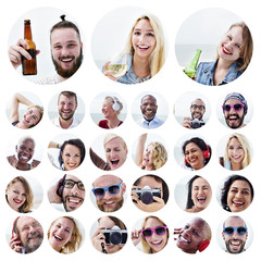 People Set of Faces Diversity Human Face Concept