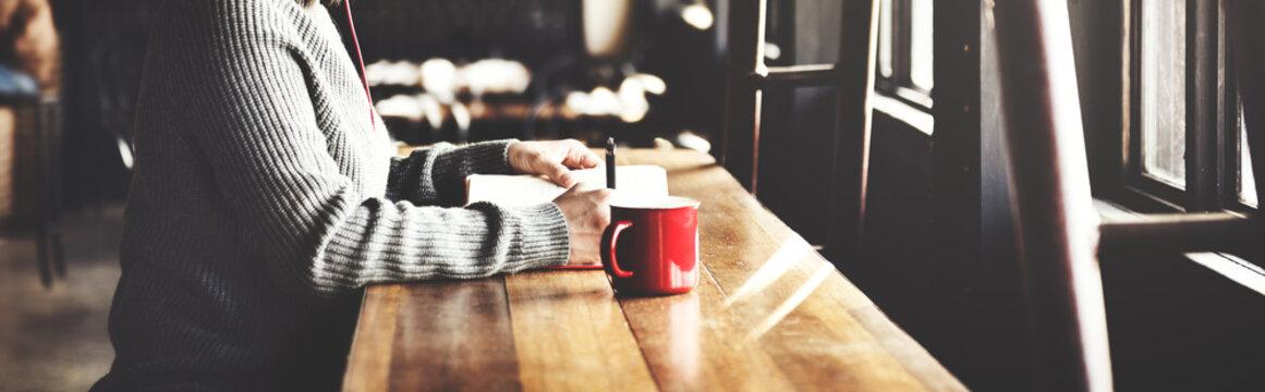 Woman Writing BookCoffee Shop Concept