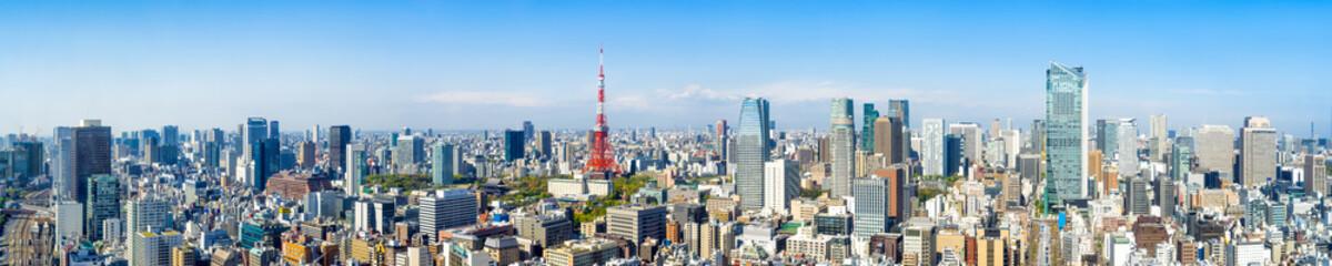 Tokyo Skyline Panorama im Sommer mit Tokyo Tower
