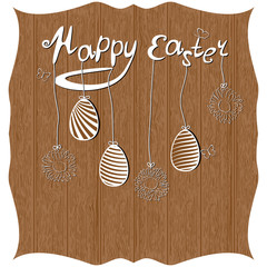 Greeting card happy easter with eggs