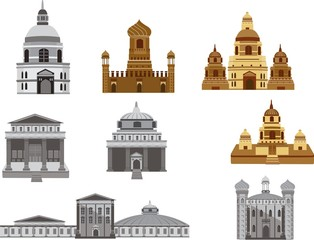 Ancient temples vector set