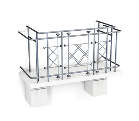 Balcony with a metal fence on a white background. 3d render image.