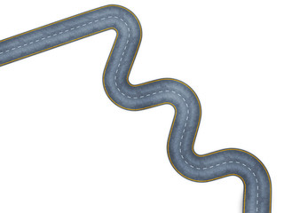 Image of a winding road, top view. 3d render image.