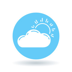 Sun and clouds icon. Partly cloudy sign. Sunlight and clouds symbol. White sun cloud icon on blue circle background. Vector illustration.