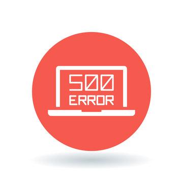 500 internal server error icon. Internet error sign. Laptop browser error symbol. White laptop 500 error icon on red circle background. Vector illustration.