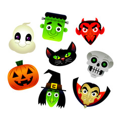 Halloween cartoon characters vector illustration Ghost Frankenstein Black Cat Devil Satan Skull Skeleton Pumpkin Jack O'Lantern Witch Dracula Vampire