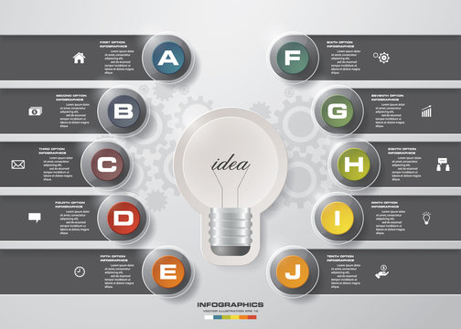 Design 10 steps with idea light blub template/graphic or website layout. 10 steps chart . Vector.