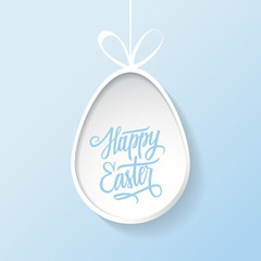 Easter egg with handwritten inscription Happy Easter. Happy Easter greeting card. Happy Easter lettering. Happy Easter symbol. Vector illustration.