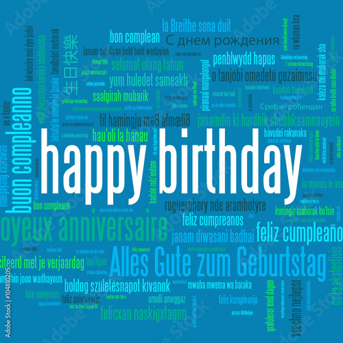HAPPY BIRTHDAY Tag Cloud Of Translations Vector Card