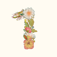Floral numeral figure 1