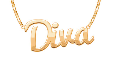 Golden DIVA word pendant on chain necklace.