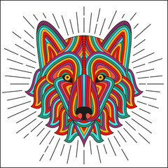 Creative stylized wolf head in ethnic linear style. Good for logo, tattoo, t-shirt design. Animal background. Highly detailed abstract hand drawn style. Vector illustration