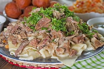 Kazakh national dish of meat and dough - Beshbarmak