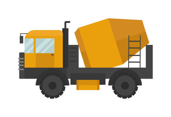 Building under construction cement mixer machine technics vector illustration