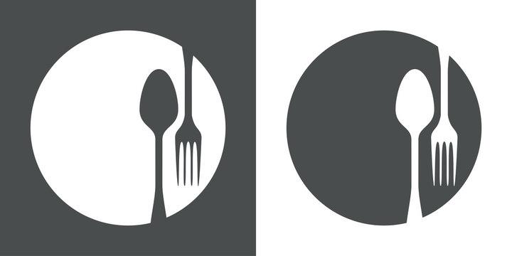 Icono plano cubiertos en círculo en fondo gris y fondo blanco
