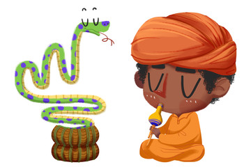 Creative Illustration and Innovative Art: Snake charmer. Realistic Fantastic Cartoon Style Artwork Scene, Wallpaper, Story Background, Card Design