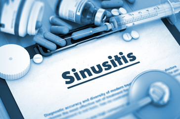Sinusitis, Medical Concept with Selective Focus. Sinusitis - Medical Report with Composition of Medicaments - Pills, Injections and Syringe. 3D.