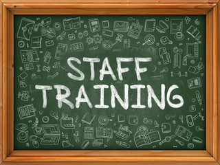 Hand Drawn Staff Training on Green Chalkboard. Hand Drawn Doodle Icons Around Chalkboard. Modern Illustration with Line Style.
