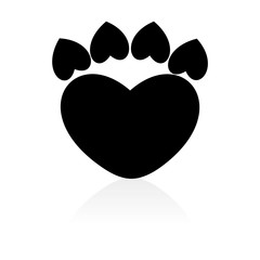 Paw Sign Heart icon