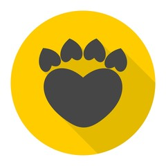 Paw Sign Heart icon with long shadow