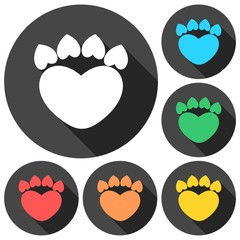 Paw Sign Heart icons set with long shadow