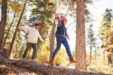 Children Having Fun And Balancing On Tree In Fall Woodland