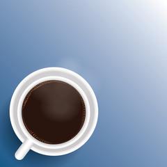 cup of coffee. flat lay coffee mug top view