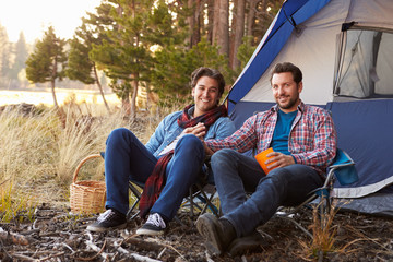 Portrait Of Male Gay Couple On Autumn Camping Trip