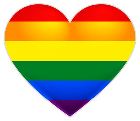 Rainbow flag gay. LGBT flag heart.