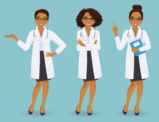 Set of three female doctors in different poses on blue background