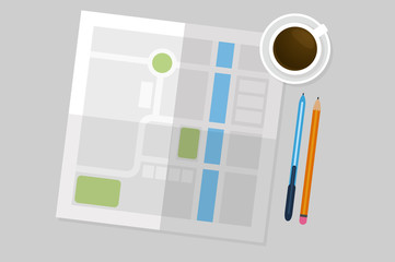Flat Lay Map vector illustration