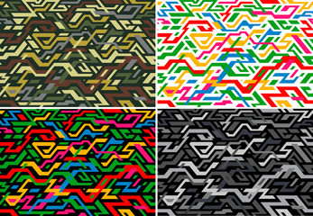 Set of abstract digitally seamless pattern