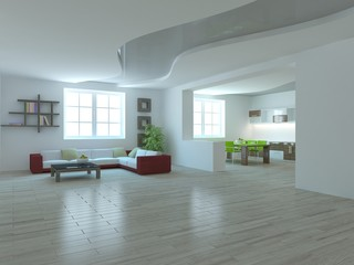 white modern interior design- 3d illustration