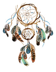 Watercolor ethnic dreamcatcher.