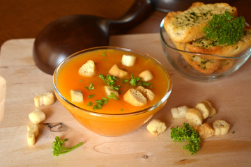 Creamy Butternut Squash Soup With Croutons On a Glass Bowl