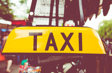 Taxi sign in a market