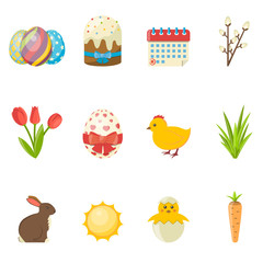 Set of Happy Easter icons. Vector flat Illustration