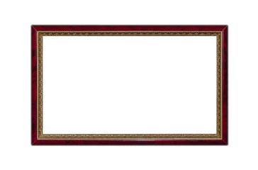 Dark red wooden frame isolated on white