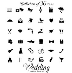 Wedding vector icon set.