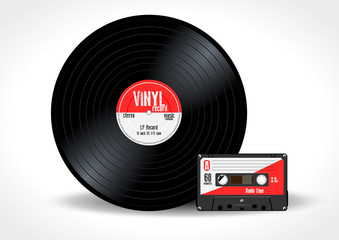 Gramophone vinyl LP record and music cassette with red label. Long play album disc 33 rpm and compact audio tape - realistic retro design, vector art image illustration, isolated on white background
