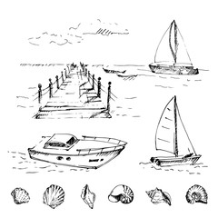 Hand drawn set with wooden pier at sea with cloudscape and cockleshells. Sketch. Vector illustration.