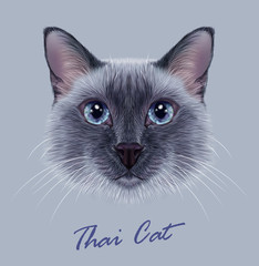 Vector Illustrative Portrait of a Thai Cat