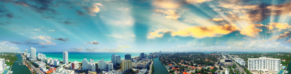 Miami Beach - Aerial view on a sunny day