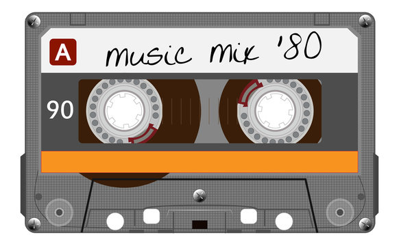 Vintage transparent plastic audio cassette. Orange musical cassette tape with text old technology, realistic retro design. vector art image illustration isolated on white background