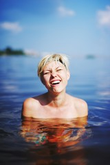 girl in cold water sea shoked