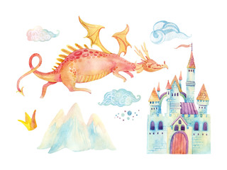Watercolor fairy tale collection with cute dragon, magic castle, mountains and fairy clouds