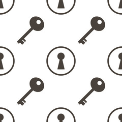 Keys and keyhole silhouettes seamless pattern background.
