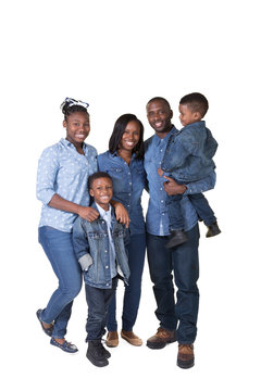 Large african american family isolated on white